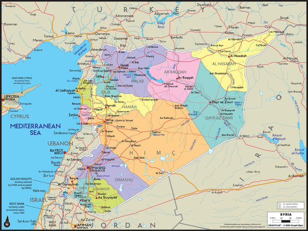 Syria Political Wall Map