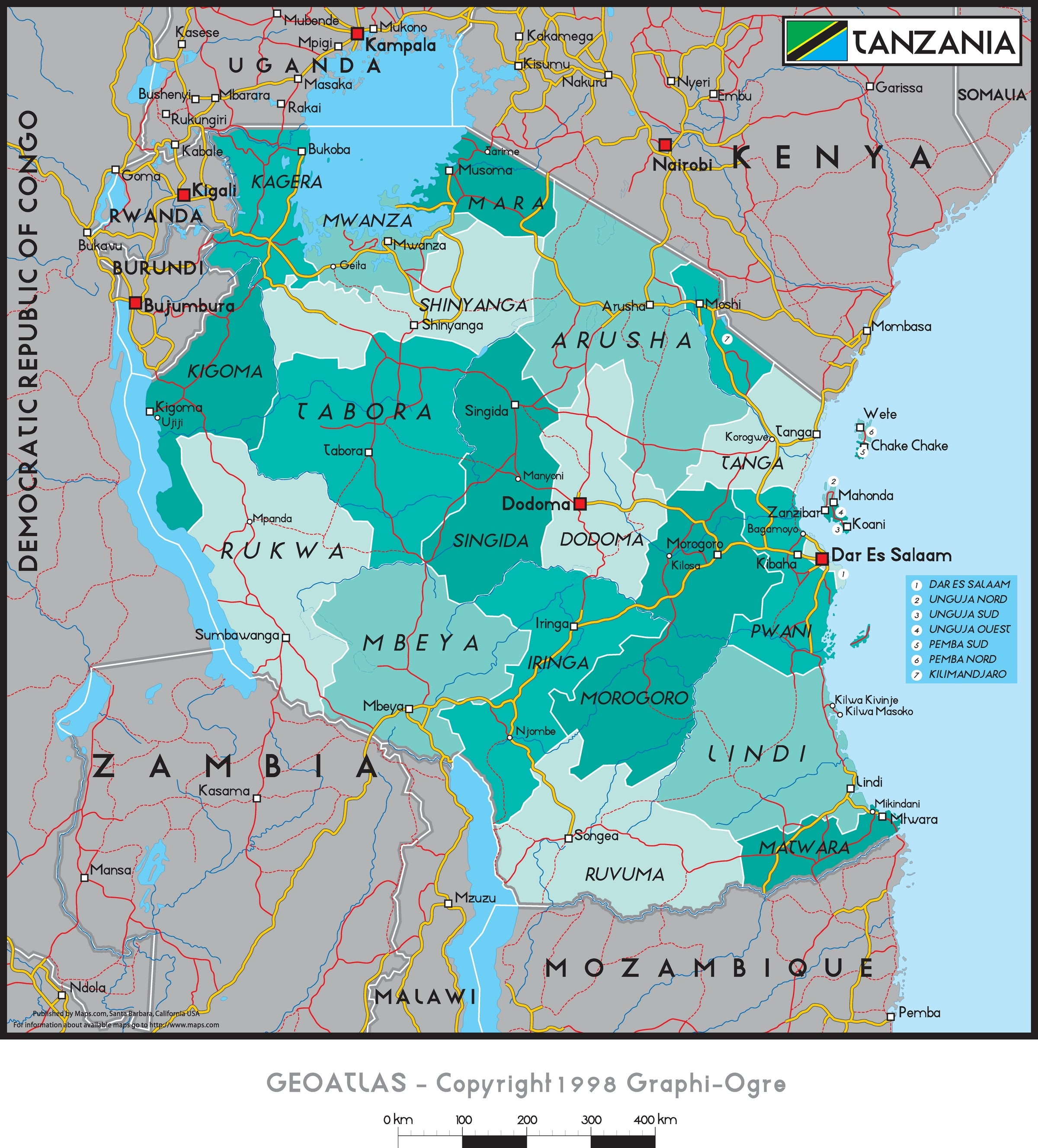 Picture of: Tanzania Political Wall Map Maps Com Com