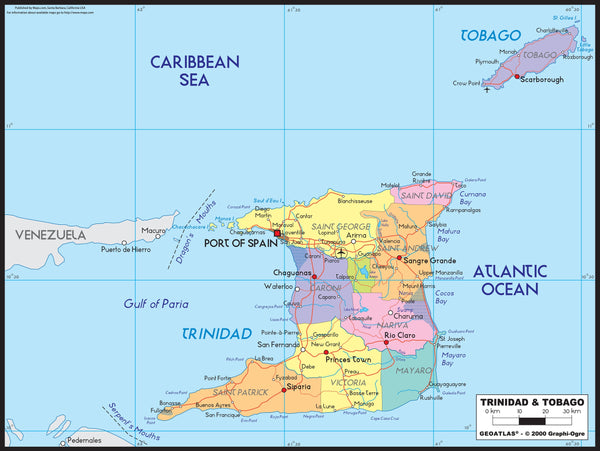 Trinidad Political Wall Map