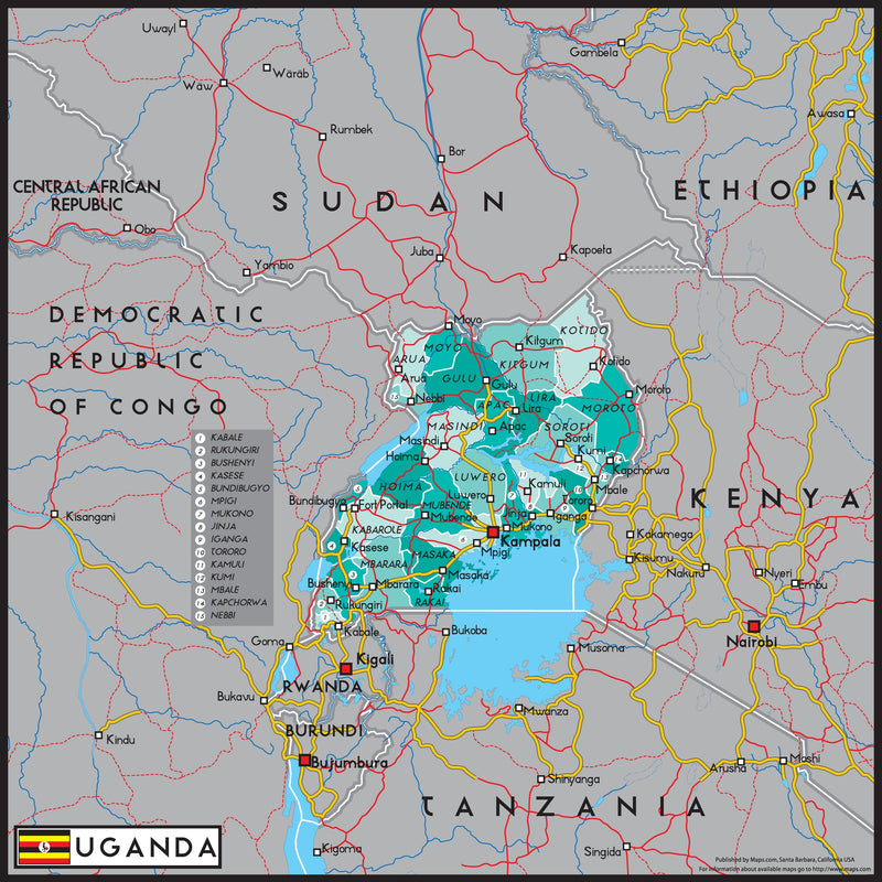 Uganda Political Wall Map