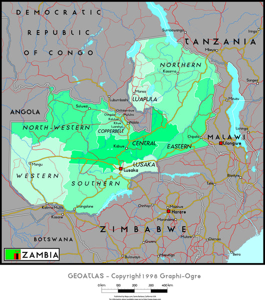 Zambia Political Wall Map