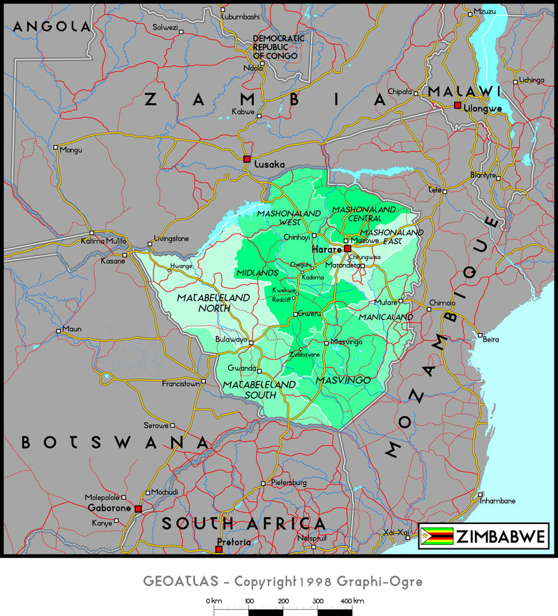 Zimbabwe Political Wall Map