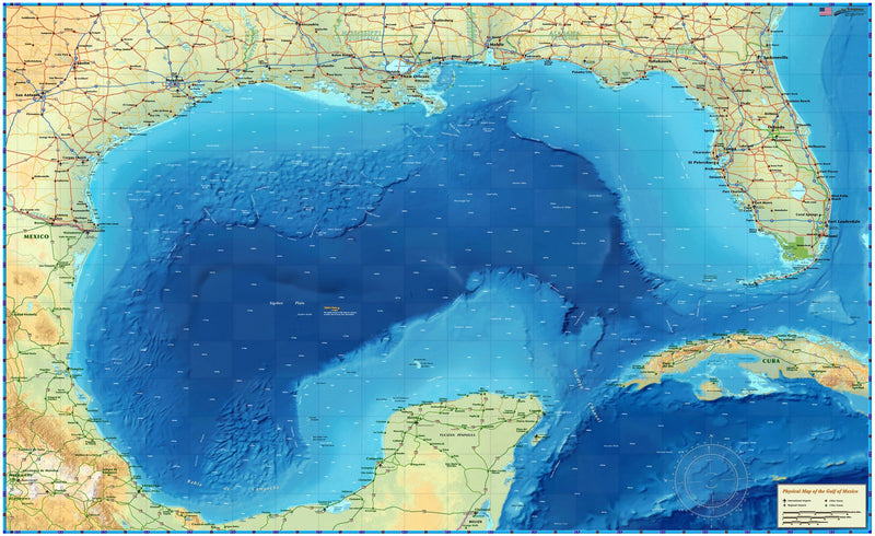 Gulf of Mexico Physical Ocean Wall Map