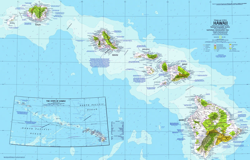 Hawaii Map 1976 by National Geographic