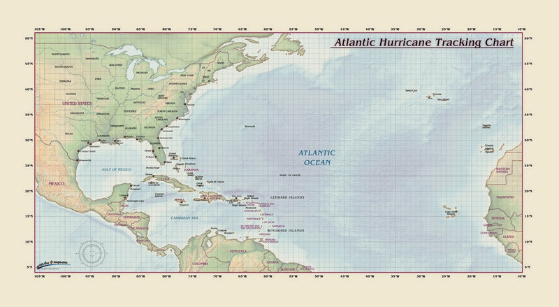 Atlantic Hurricane Tracking Chart
