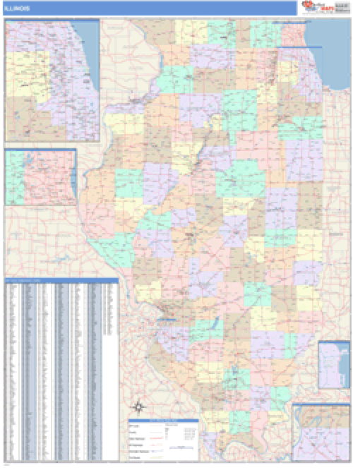 Illinois Business Wall Map