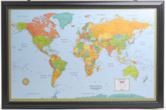 Illuminated World Wall Map with Frame