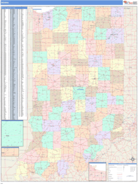 Indiana Business Wall Map
