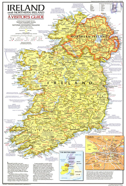 Ireland And Northern Ireland Visitors Guide Map 1981