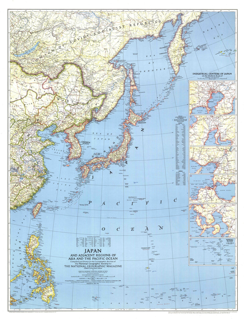 Japan Map 1944 with Asia and the Pacific Ocean