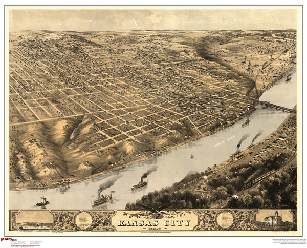 Kansas City MO Antique Wall Map