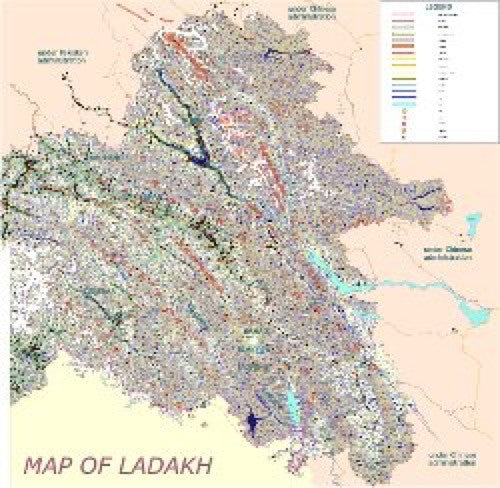 Ladakh, India Wall Map