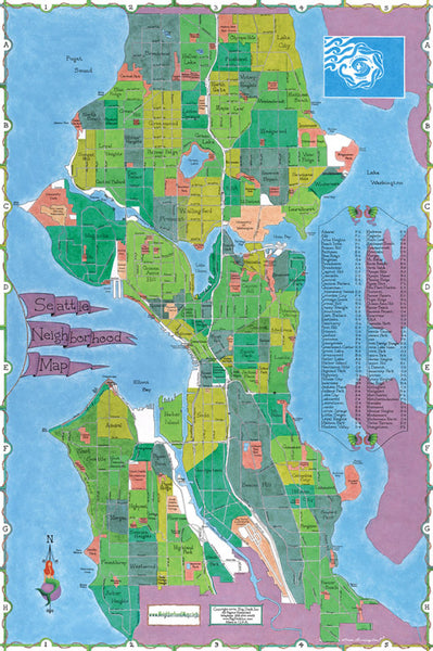 Cover of Seattle Neighborhood Map by Big Stick