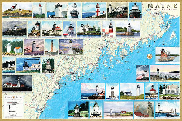 Cover of Maine Lighthouses Map - Laminated Poster