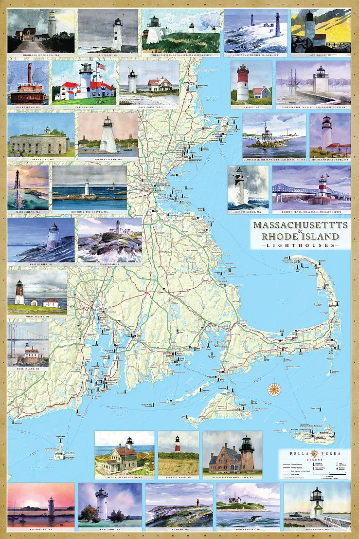 Cover of Massachusetts and Rhode Island Lighthouses Map