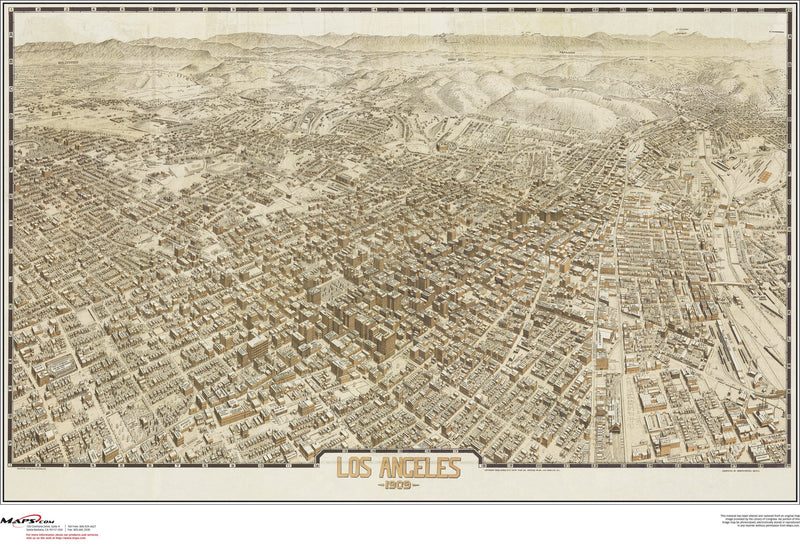 Los Angeles Antique Wall Map
