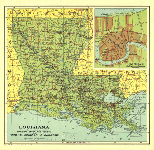Louisiana Map 1930