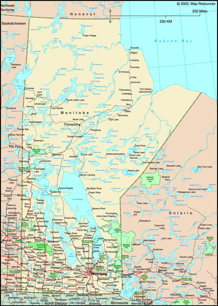 Manitoba, Canada Political Wall Map
