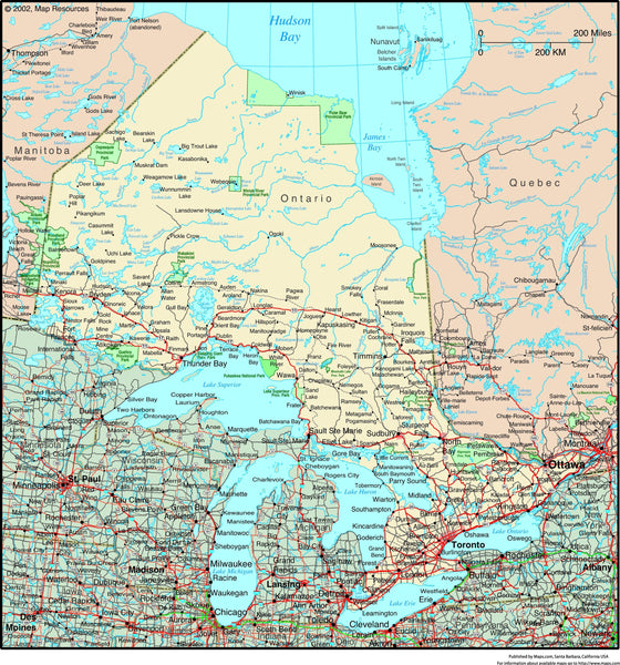 Ontario, Canada Political Wall Map