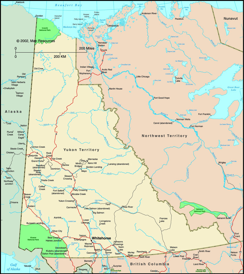 Yukon Territory, Canada Political Wall Map