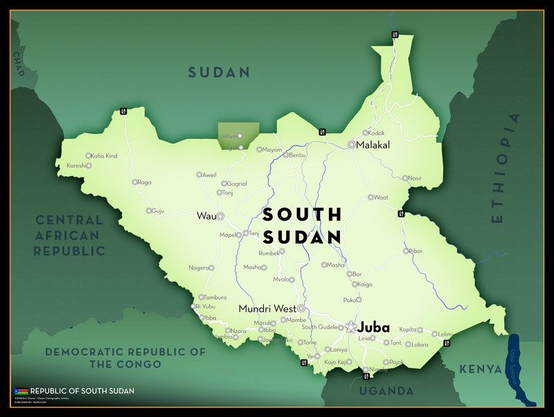 South Sudan Executive Style Wall Map