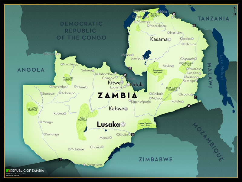 Zambia Executive Style Wall Map