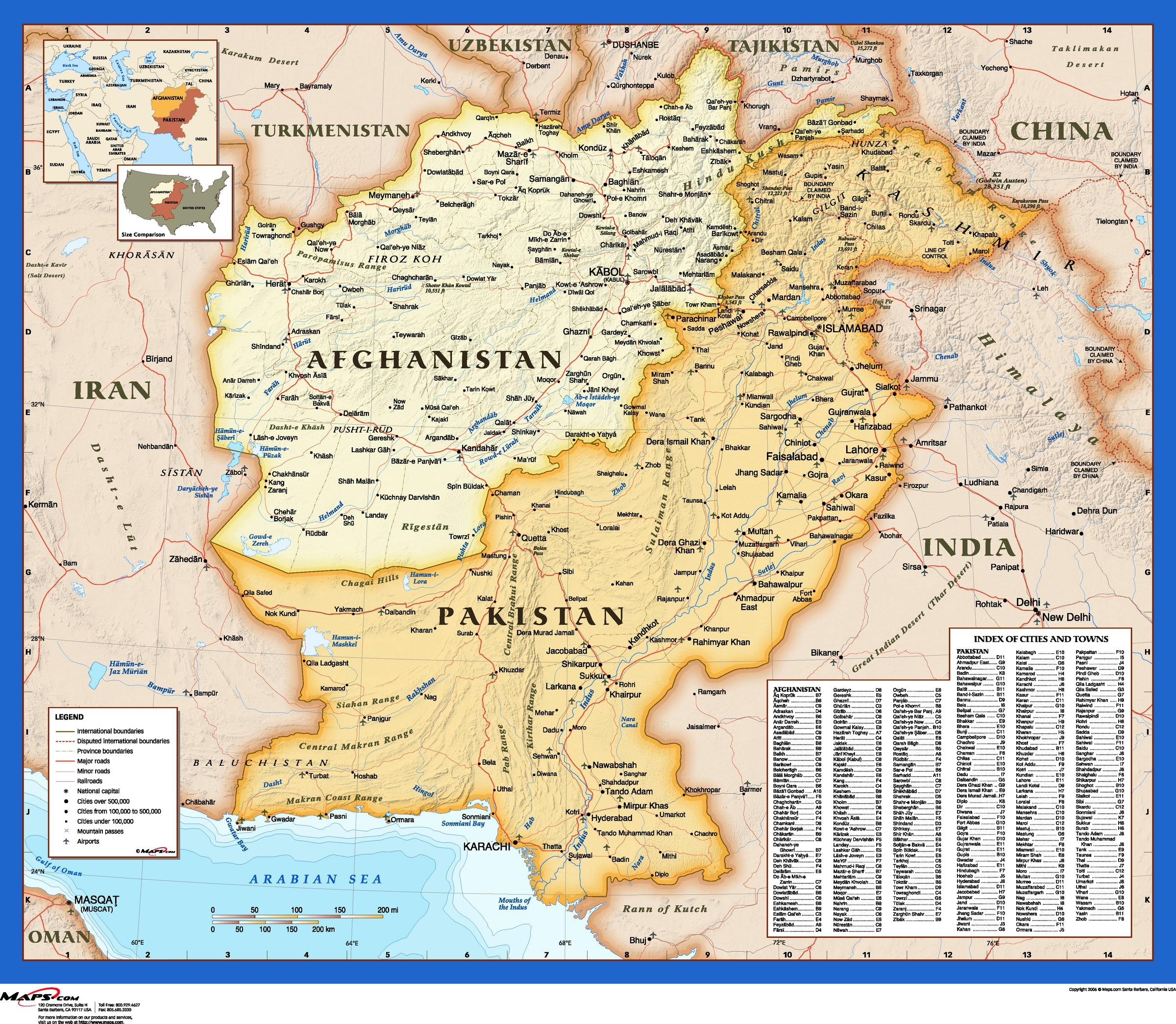 Afghanistan And Pakistan Atlas Wall Map