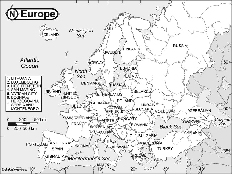 Europe Black & White Reference Map