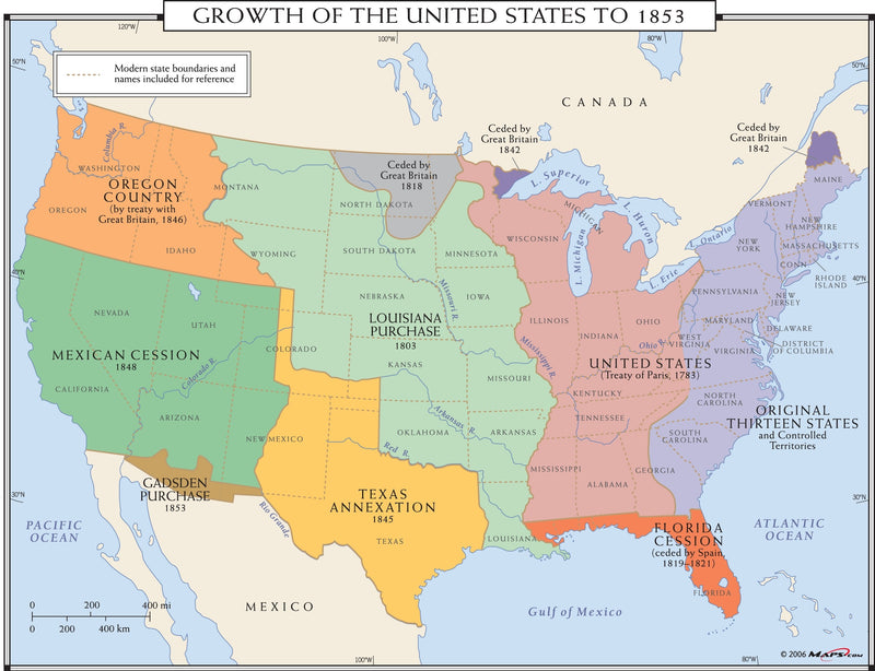 Growth of the United States to 1853 Wall Map