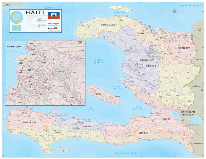 Haiti with Port-au-Prince Wall Map