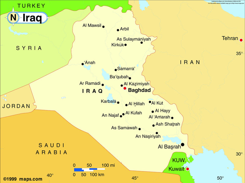 Iraq Base Wall Map