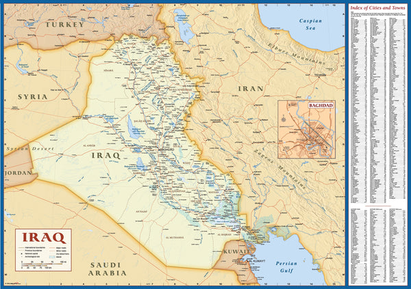 Iraq Deluxe Political Wall Map w/Index