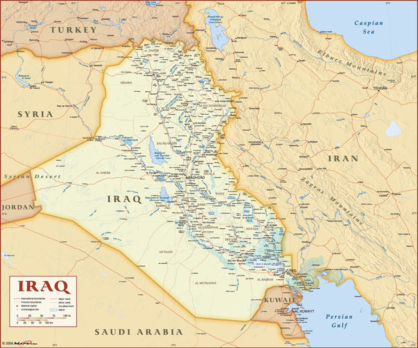 Iraq Deluxe Political Wall Map