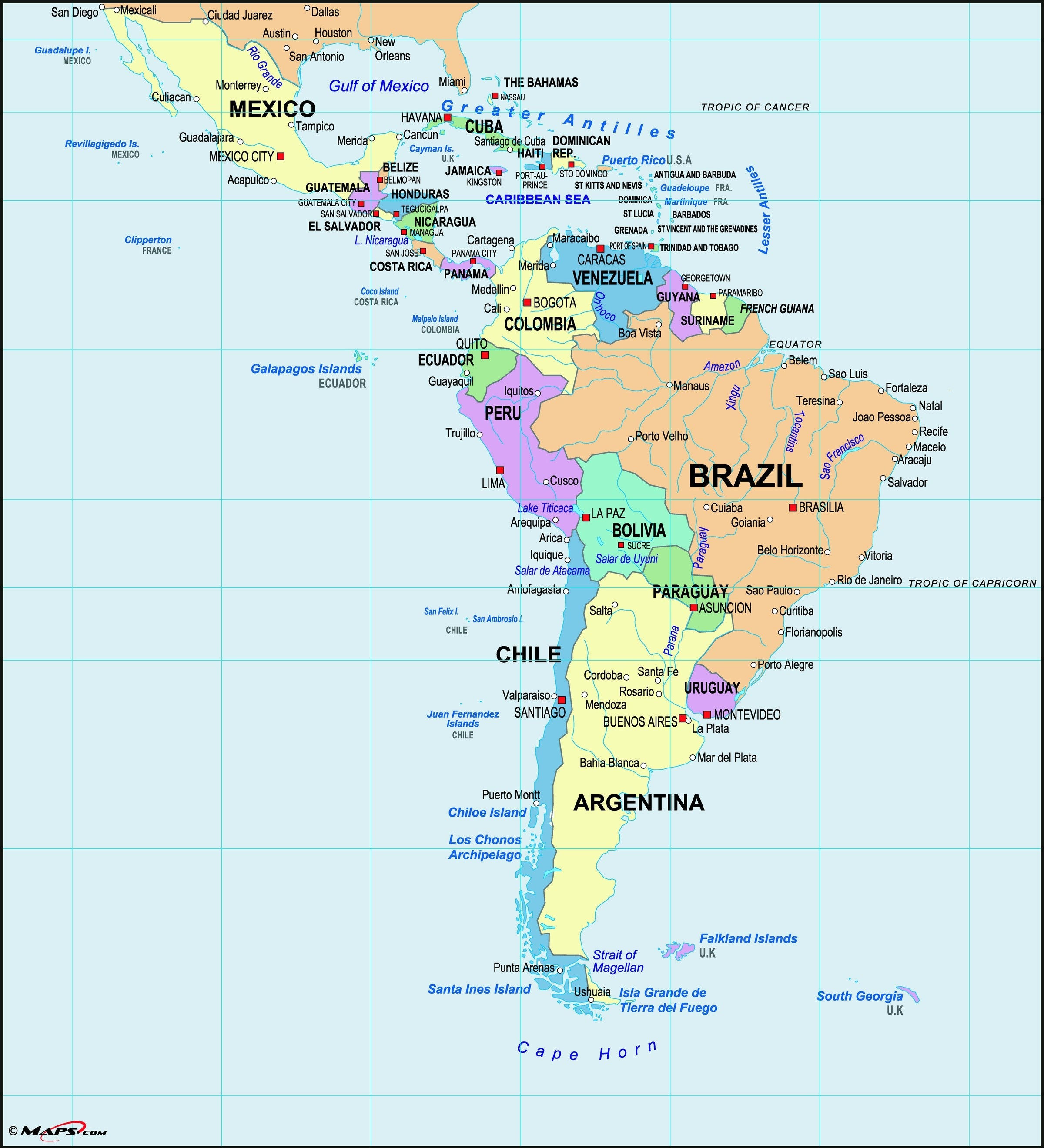 us and latin america map Latin America Wall Map Maps Com Com