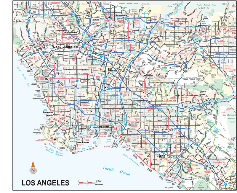 Los Angeles City and Metropolitan Area Wall Map