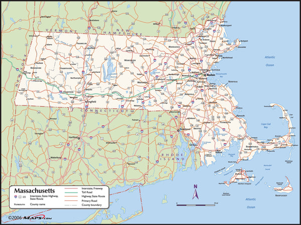 Massachusetts County Wall Map