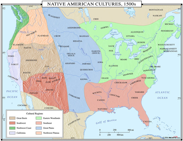 Native American Cultures 1500s Wall Map