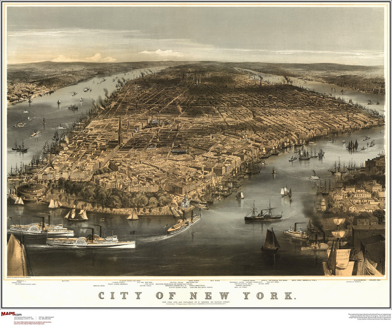 New York City Antique Wall Map