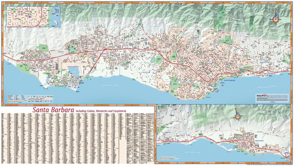 Santa Barbara, California Wall Map