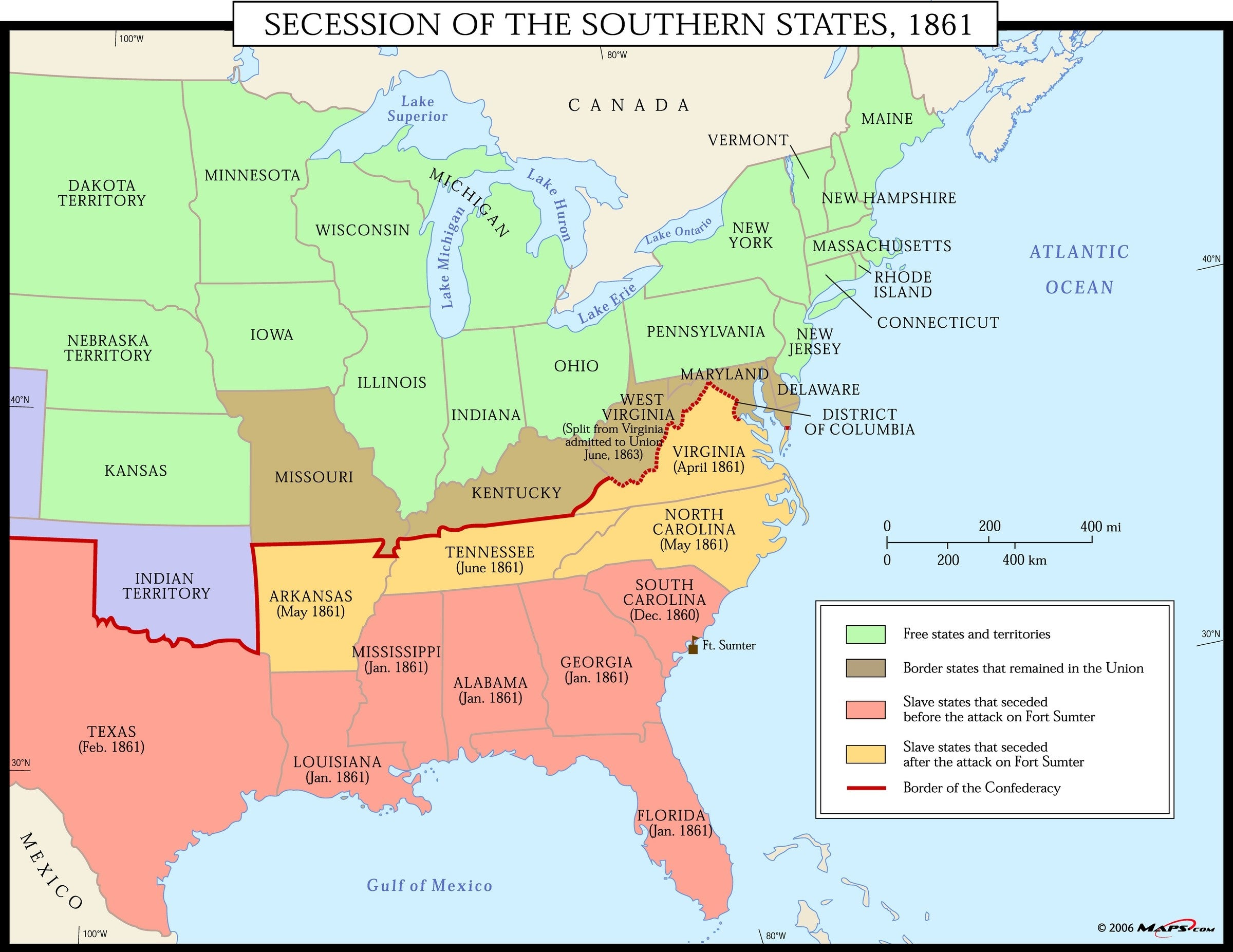 Image of: Secession Of The Southern States 1861 Map Maps Com Com