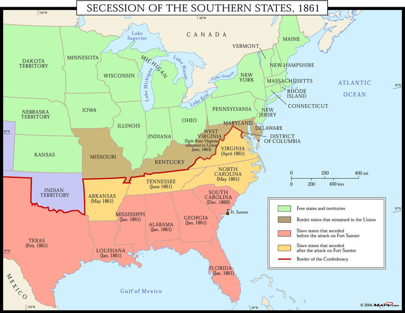 Secession of the Southern States 1861 Wall Map
