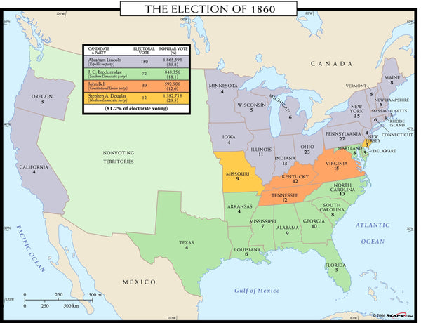 The Election of 1860 Wall Map