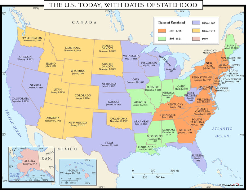 The U.S. Today, with Dates of Statehood Wall Map