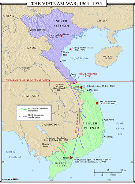 Vietnam War Map - 1964-1975
