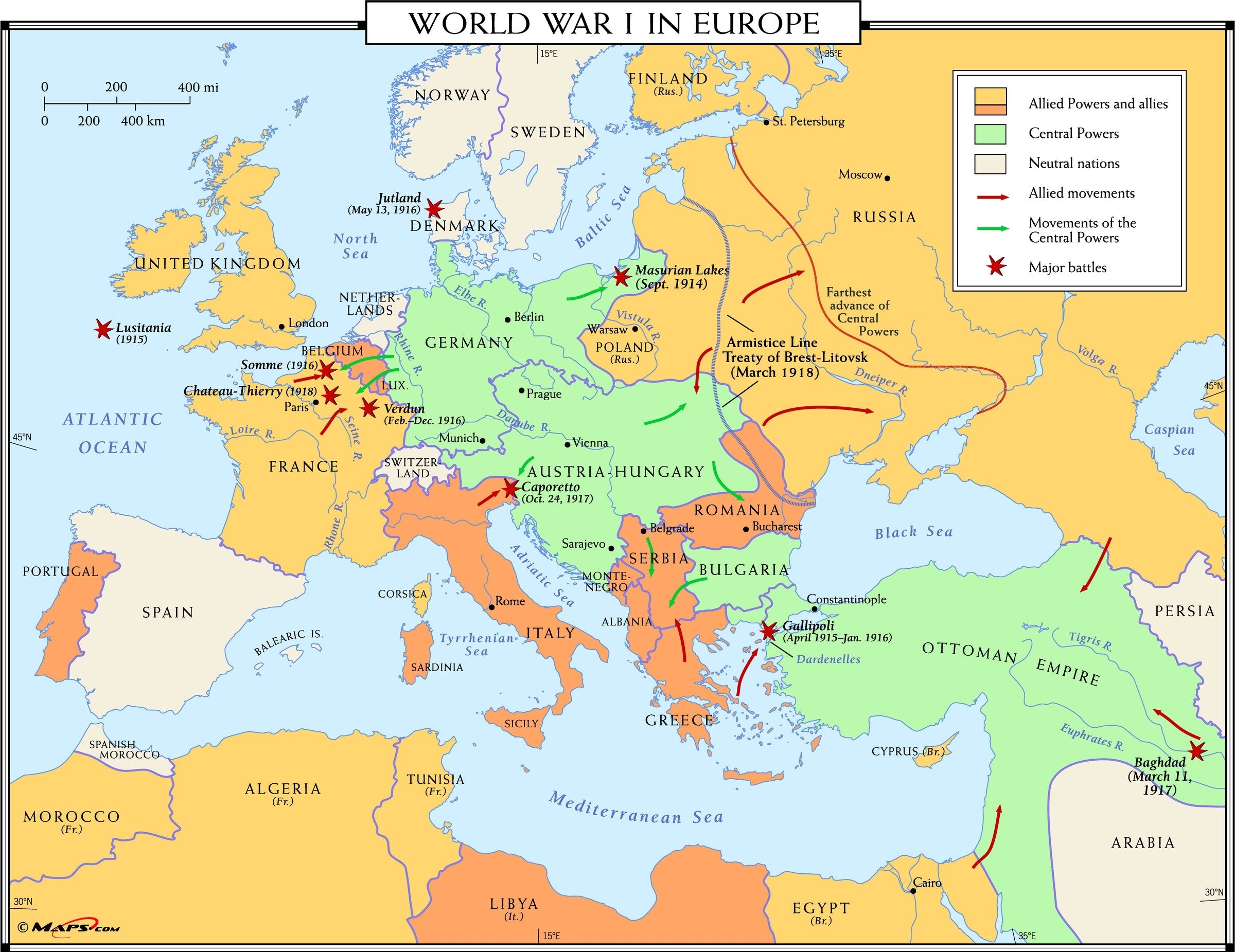 Europe After Ww1 Map Answers.World War I In Europe Map Maps Com