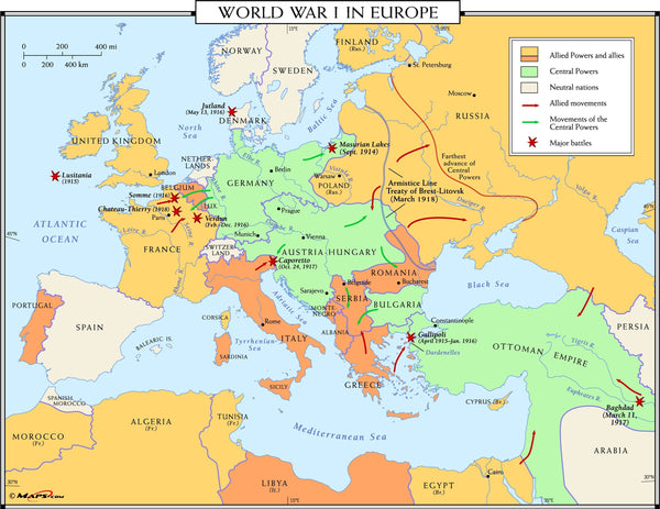 World War I in Europe Wall Map