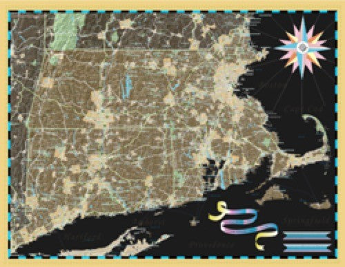 Massachusetts, Connecticut and Rhode Island Deco Wall Map