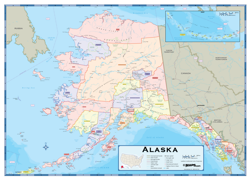 Alaska Counties Wall Map