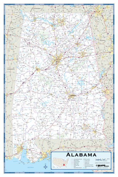Alabama Highway Wall Map