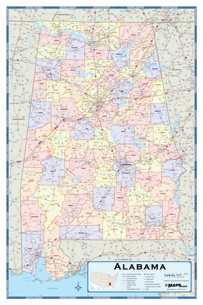 Alabama Counties Wall Map